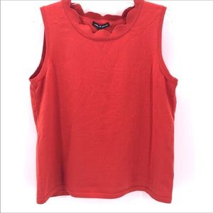 CABLE & GAUGE CORAL SCALLOPED  SLEEVELESS TANK TOP